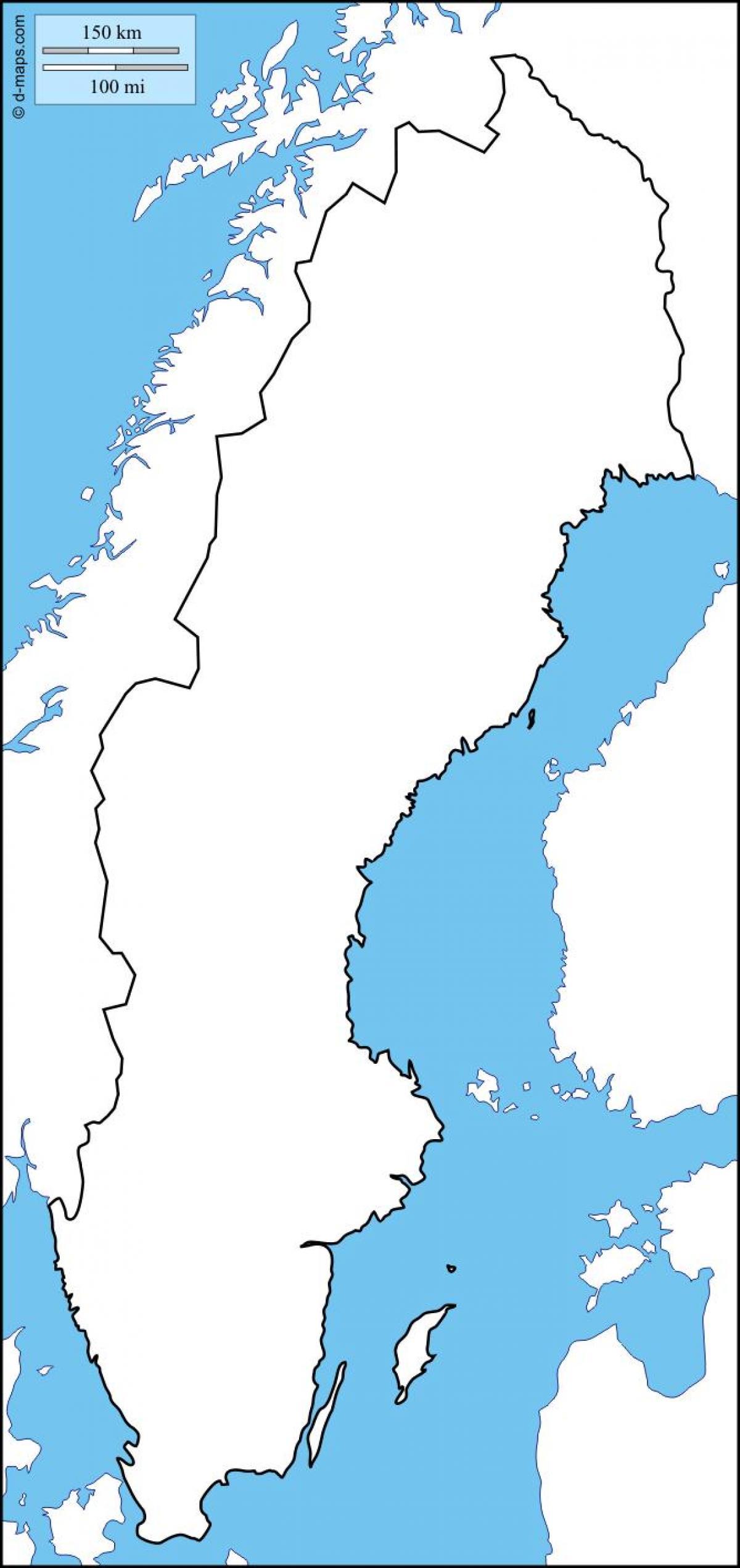 Svedsko Prazdne Mape Slepa Mapa Svedsko Severni Evropa Evropa